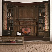 Bishilin Dorm Tapestry, Fireplace 3d Effect Wall