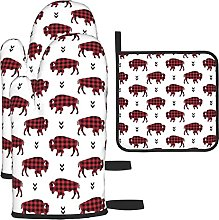 Bison Buffalo Plaid Oven Mitts and Pot Holders