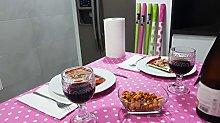 Bissu Laminated Paper Tablecloth, Fuchsia Polka