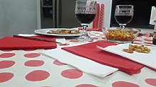 Bissu Laminated Paper Tablecloth, White with Red