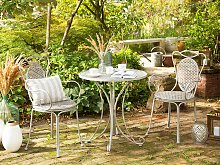 Bistro Garden Table Grey Metal Shabby Chic French