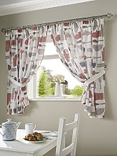 Bistro Kitchen Curtains with Tie Backs, Polyester,