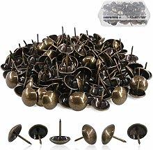 BITEFU 150pcs Brass Upholstery Tacks Vintage Metal