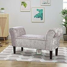 BiYeer Grey Sofa Crushed Velvet Upholstered