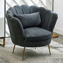 BiYeer Grey Sofa Gray Velvet Armchair Scallop