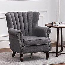 BiYeer Grey Sofa Linen Big Retro Upholster Wing