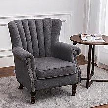 BiYeer Grey Sofa Linen Fabric Armchair Lounge Sofa