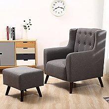 BiYeer Grey Sofa Modern Fabric Tub Chair Armchair