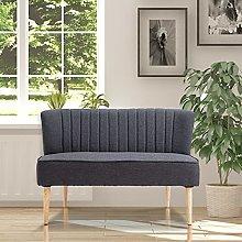BiYeer Grey Sofa Modern Grey Linen 2 Seater Sofa