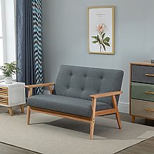 BiYeer Grey Sofa Modern Linen Fabric Upholstery