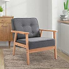 BiYeer Grey Sofa Retro Single Sofa Armchair Beech