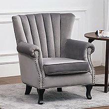 BiYeer Grey Sofa Upholstered Wing Back Oyster