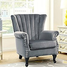 BiYeer Grey Sofa Velvet Armchair Deep Tufted Queen