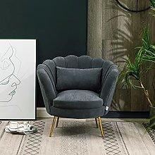 BiYeer Grey Sofa Velvet Chair Lotus Seat Cocktail