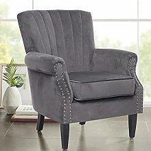 BiYeer Grey Sofa Velvet Upholstered Tuffed