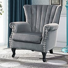 BiYeer Grey Sofa Wing Back Home Reception Accent