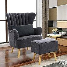 BiYeer Grey Sofa Winged Armchair Tub Lounge Chair