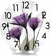 BJHAP 10 Inch Round Hanging Wall Clock, Purple