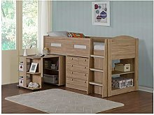 BJYX Childrens Mid Sleeper Cabin Bed Pull Desk