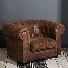 BJYX Distressed Leather Upholstered Armchair