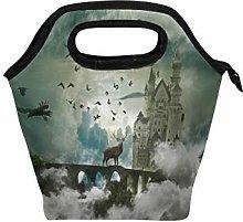 BKEOY Tote Lunch Bag Beautiful Wild Animal Brown