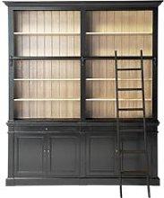 Black 2-Drawer 4-Door Bookcase with Ladder