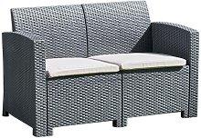 Black 2 Seater Rattan Effect Sofa - Outdoor Garden
