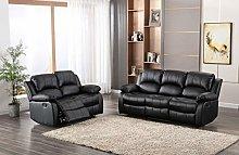 Black 3+2 seater, Double Recliner Sofa set,