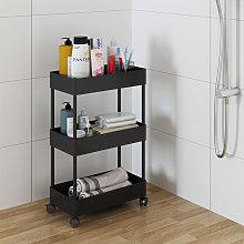 Black 3 Tier Trolley Cart Salon Beauty Storage