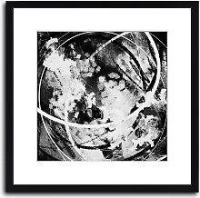 Black Acrylic Abstract Wood Framed Print & Mount,