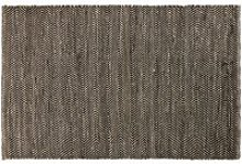 Black and Brown Cotton and Jute Rug with Chevron
