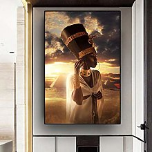 Black and Gold Nude African Art Woman Sunset Oil