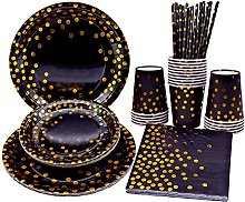 Black and Gold Party Tableware Disposable Party