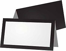 Black and Gray Place Cards - FLAT or TENT Style -