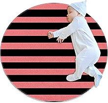 Black And Light Pink Stripe Pattern Non-Slip Area