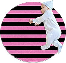 Black And Pink Stripe Pattern Non-Slip Area Rug