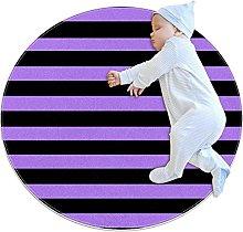 Black And Purple Stripe Pattern Non Slip Round Rug
