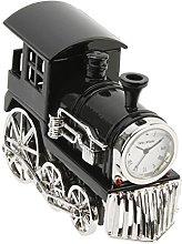 Black and Silver Steam Engine Miniature Clock