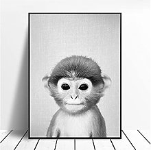 Black and White Baby Monkey Canvas Painting Wall