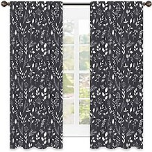 Black and White Blackout curtain, Wildflowers