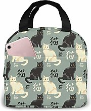 Black and White Cat Portable Lunch Bag Insulated
