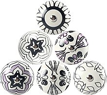 Black and White Ceramic Door Knobs for Cupboards,