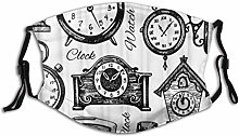 Black and White Clock Various Types Reusable Mouth