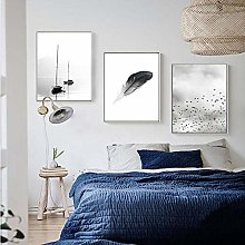 Black and White Feather Landscape Abstract Canvas