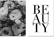 Black and White Flower Canvas Painting Poster