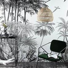 Black and White Jungle Print Non-Woven Wallpaper