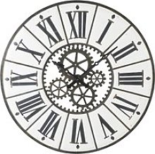 Black and White Metal Cog Clock D139