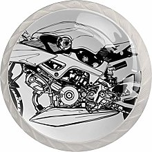 Black and White Motorcycle Vector 4pcs Glass