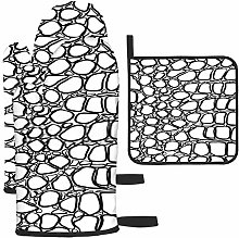 Black And White Pattern Of Crocodile Oven gloves