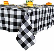 Black and White Plaid Square Tablecloth 55x55-Inch